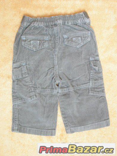 Manžestrové kalhoty s kapsami, kapsáče vel. 68