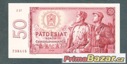 Staré bankovky - 50 kčs 1964, bezvadný stav