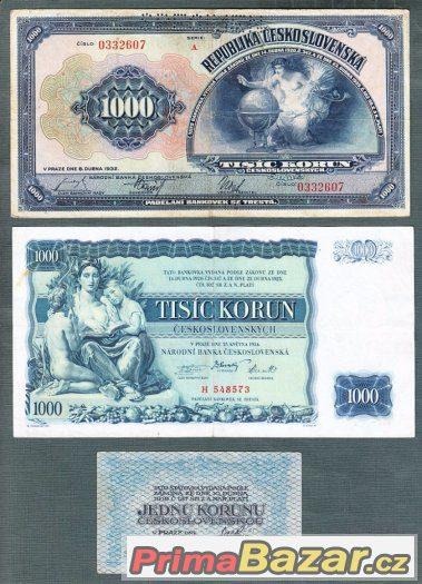 Staré bankovky První republika 1919-1929 , 9kusů