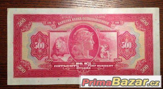 Staré bankovky - 500 korun 1929 NEPERFOROVANA, pěkný stav