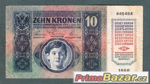 Staré bankovky - 10 korun 1915 bez přetisku