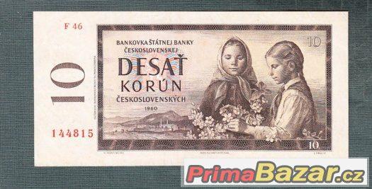 Staré bankovky - 10 kčs 1960 VZÁCNÁ serie F pěkný stav
