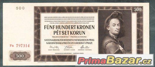 Staré bankovky - 500 korun 1942 NEPERFOROVANA pěkný stav