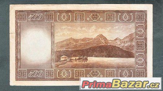 Staré bankovky - 500 kčs 1945 Vzácná neperforovana