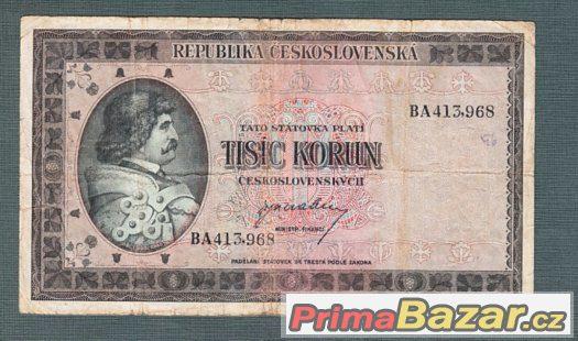 Staré bankovky - 1000 kčs 1945 , neperforovana