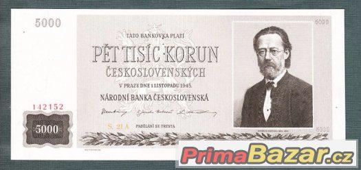 Staré bankovky - 5000 kčs 1945 Smetena bezvadný stav