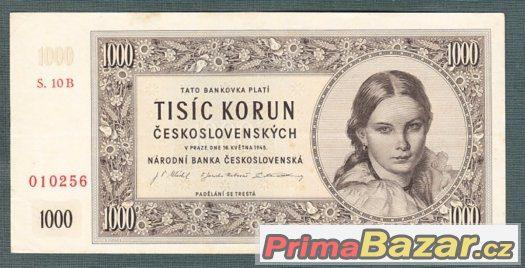 Staré bankovky - 1000 kčs 1945 pěkný stav
