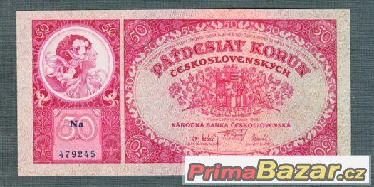 Staré bankovky - 50 korun 1929 neperforovana, pěkný stav