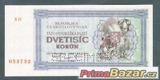 Staré bankovky - 2000 kčs 1945 bezvadný stav