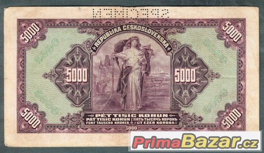 Staré bankovky - 5000 korun 1920 VZÁCNÁ serie A