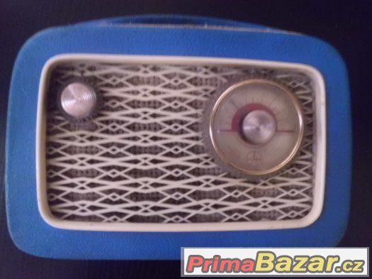 Super staré Retro Rádio - TESLA T 2800 B-2, Kabelka - MODRÉ