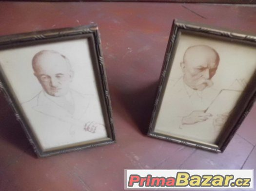 Dva pěkné staré obrázky Prezidenti - Beneš a Masaryk