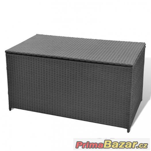 Úložný ratanový box, ratanový nábytek, truhla, černá.