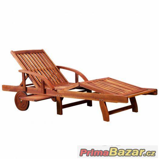 Dřevěné polohovatelné lehátko z tropického dřeva