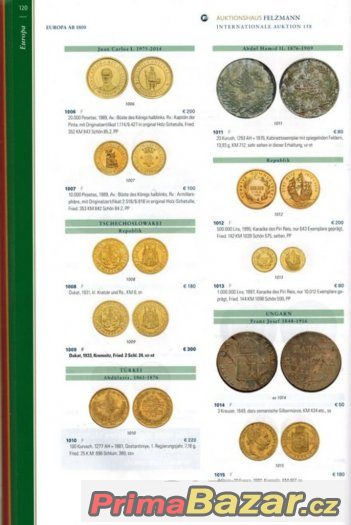 Aukce Felzmann-Německo 7.3.2017.Mince, zlato.Katalog.Luxus