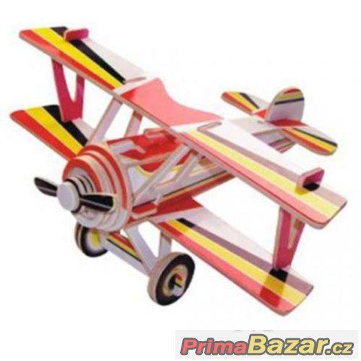 Dřevěné skládačky 3D puzzle letadla - Dvouplošník PC060
