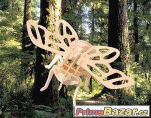 Dřevěné 3D puzzle dřevěná skládačka hmyz - Cikáda
