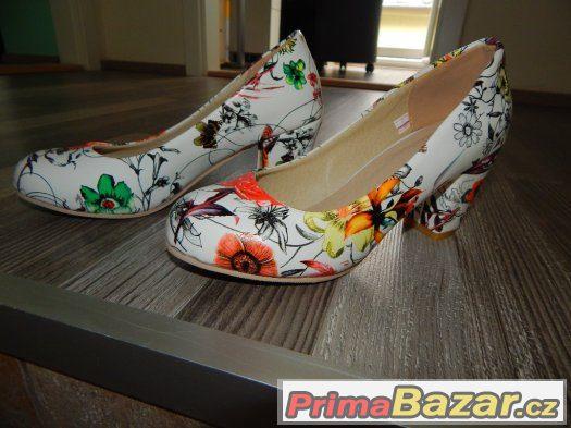 Květované bílé boty - 36