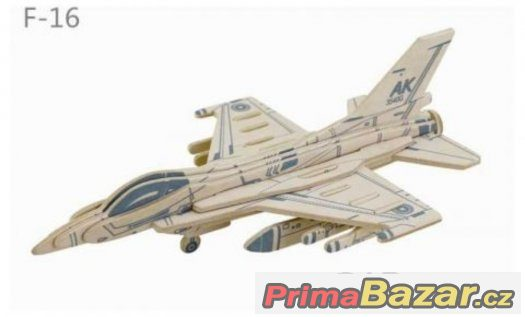 Robotime dřevěná skládačka - Americká stíhačka F16