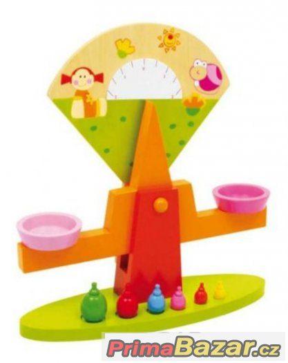 Dětská dřevěná barevná váha