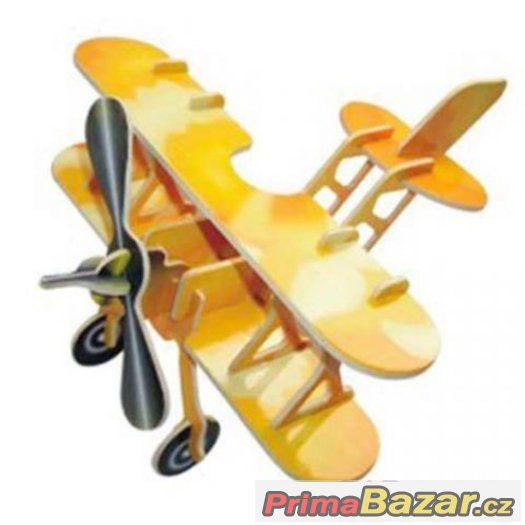 Dřevěné skládačky 3D puzzle - Letadlo dvojplošník