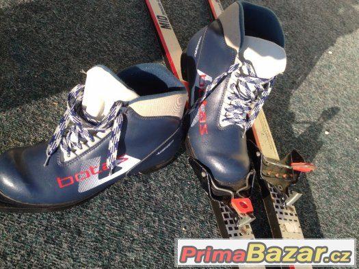 Dětské bežky délky 165 cm s šupinou a vázáním NN75. +boty
