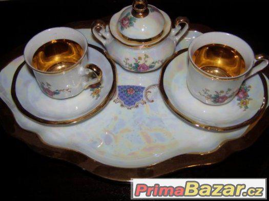 Kávový - čajový - perleťový  porcelánový servis