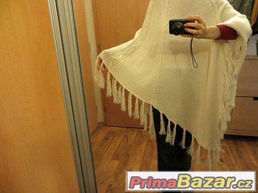 smetanově bílé pletené dámské - dívčí pončo vel. S-M-L?