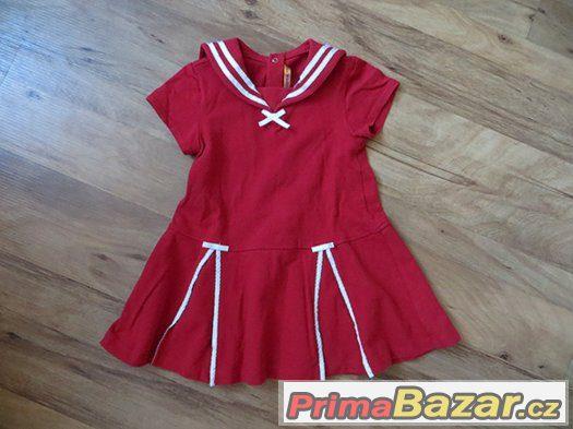 červené dívčí šaty slavnostní námořnické, bavlna 92-98-104?