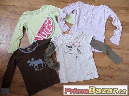 4 ks dívčí trička s dlouhým rukávem vel.92 - 98