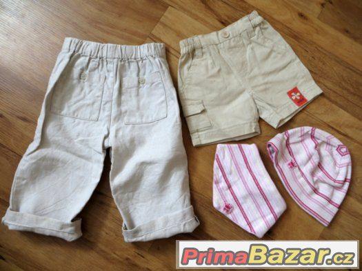 plátěné lněné kalhoty, kraťásky a čepice s šátkem 56-62-68?