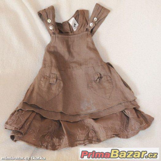 nádherné přírodní hnědé dívčí šaty - bavlna - len - 92 - 98