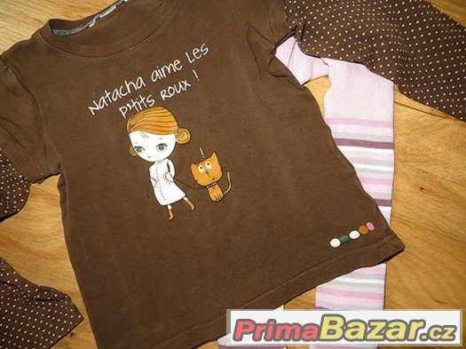 dívčí tričko - holčička s kočkou + temto punčošky Tchibo 104