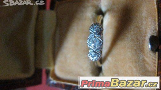TOP-Platinove zlaty Diamantovy Art-Deco elegantni prsten 193