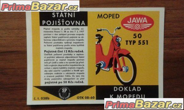 Prodám nové kartičky/doklad na mopedy a stadiony