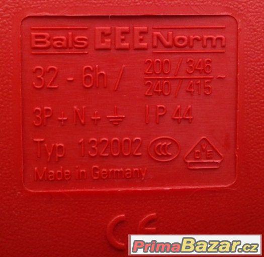 Třífázová zásuvka - 5 pólová, 32A / 400V, krytí IP 44