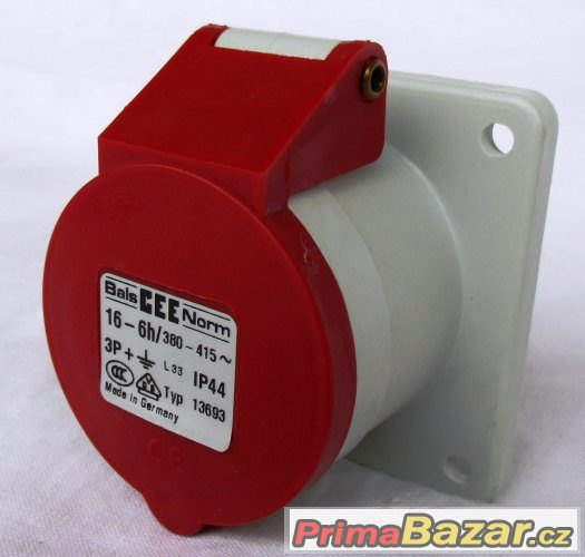 Třífázová zásuvka - 4 pólová, 16A / 400V, krytí IP 44
