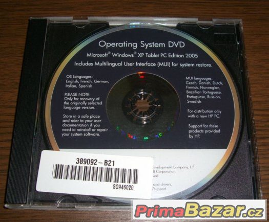 Originál Windows XP Tablet PC Edition MUI DVD OEM HP