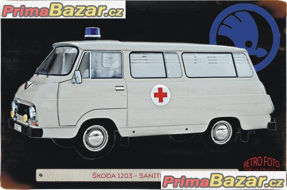 ŠKODA 1203 SANITNÍ VŮZ - PLECHOVÁ POHLEDNICE