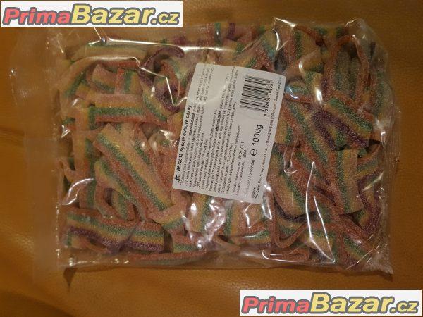 prodam kysele duhové pásky želé 1000g bonbony spousta