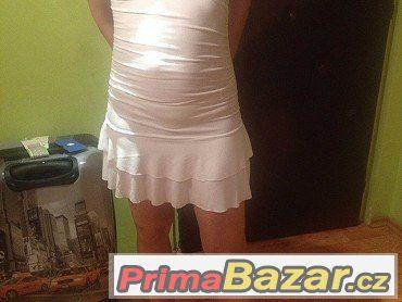 luxusní večerní šaty bílé, holá záda, zlatá spona, v. 36-38