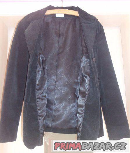 Dámské pružné černé sametové sako, vel. 46
