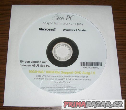 Windows 7 Starter pro Asus Eee PC (support DVD)