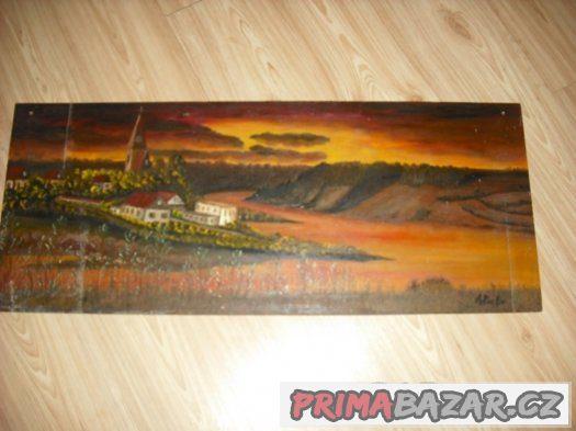 Malovaný obraz Orlík 1982 Alfréd Pecina