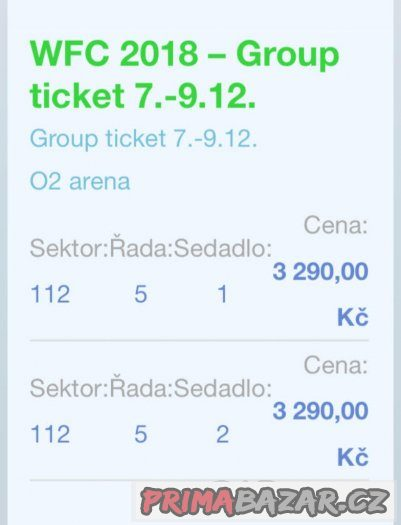 Prodám vstupenky - MS Florbal 2018, PRAHA, O2 Aréna