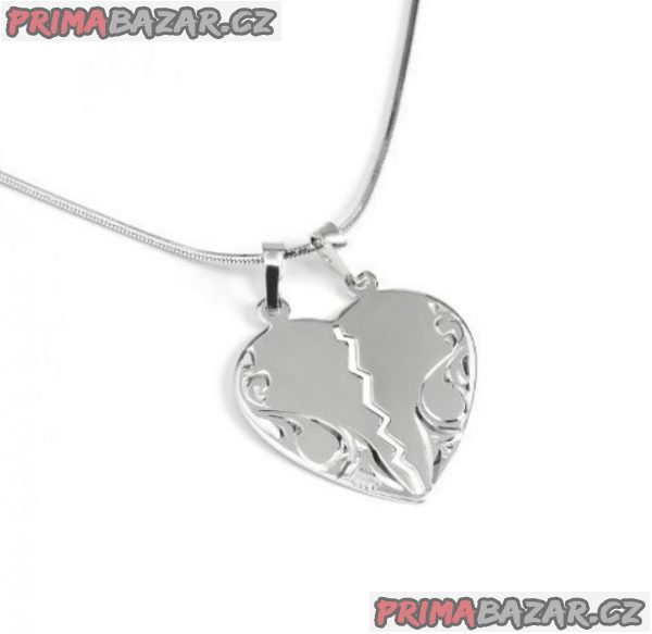 Přívěsek stříbrný přívěsek pro dva půlené srdce