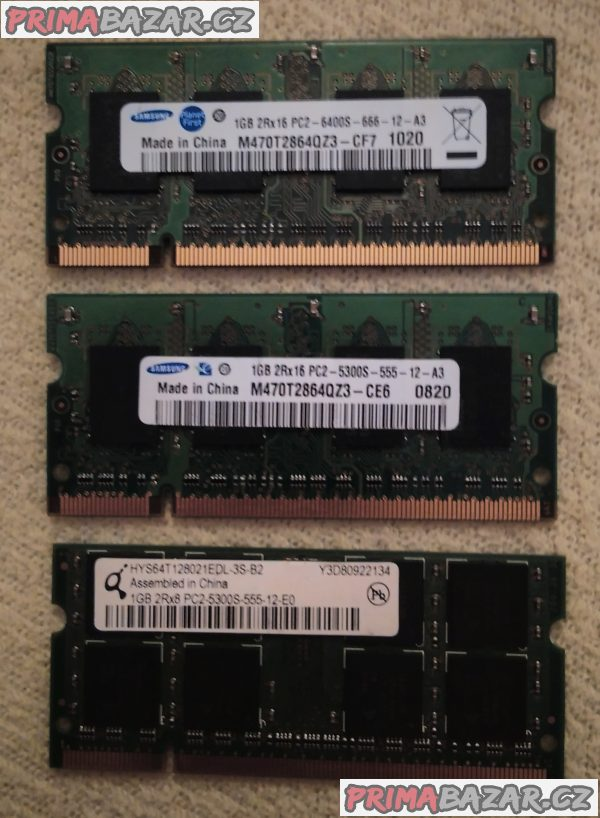 3x RAM paměť pro notebook - 3x 1GB DDR2.