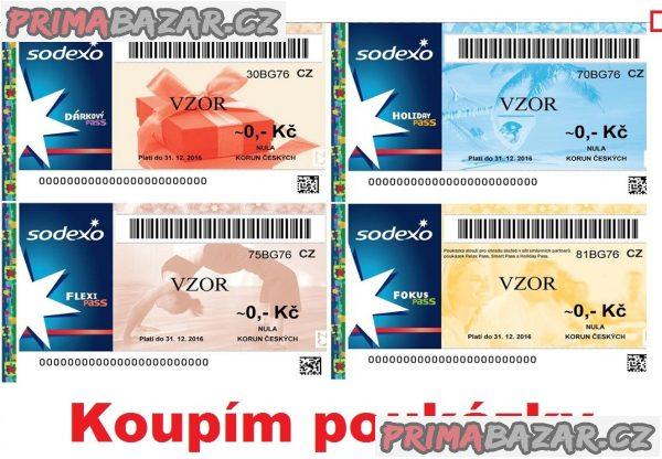 Celá ČR - koupím poukázky, stravenky, SODEXO, Flexi Pass, EDENRED Multi, Academica, Unišek+ aj.