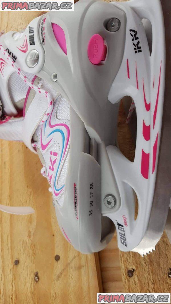 Sulov Ikki Girl zimni brusle. Velikost M 35-38, pohodlna nastavitelna brusle v novem designu. Vnejsi material resistant PE, cold resistant PVC. J