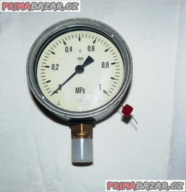 MANOMETR( 0-1,0 MPa= 0-10 bar) PR. 100 mm-NOVÝ, ČR, 2,5%